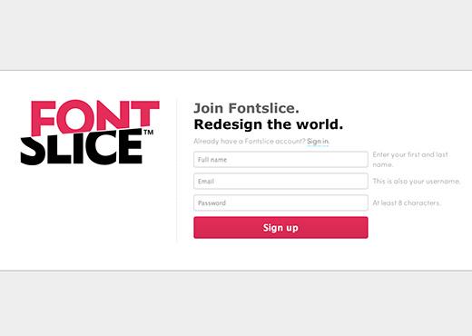 1. まずはFontsliceのアカウントの取得から