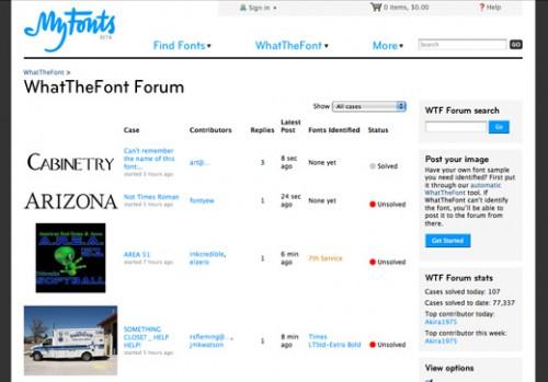 MyFontsのWhatTheFont Forum