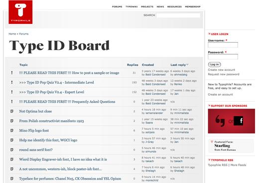 TypophileのType ID Board