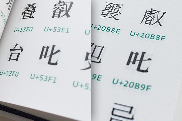 ゴシック体(サンセリフ体)だと、叱 (U+53F1) と𠮟 (U+20B9F) の区別が付きにくい。